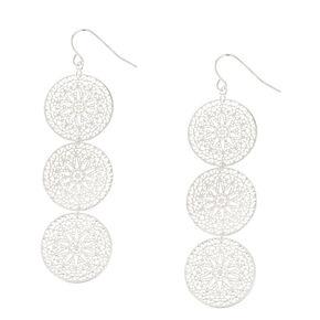 "Silver 2"" Filigree Circle Drop Earrings,"