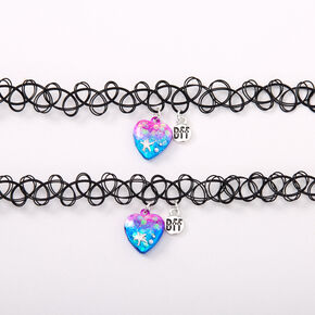 Best Friends Mermard Heart Tattoo Choker Necklaces - 2 Pack,