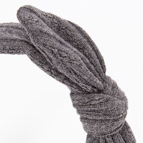Sweater Knotted Bow Headband - Grey,