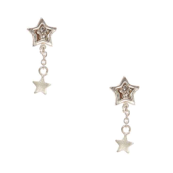 Sterling Silver Crystal Star Drop Earrings,