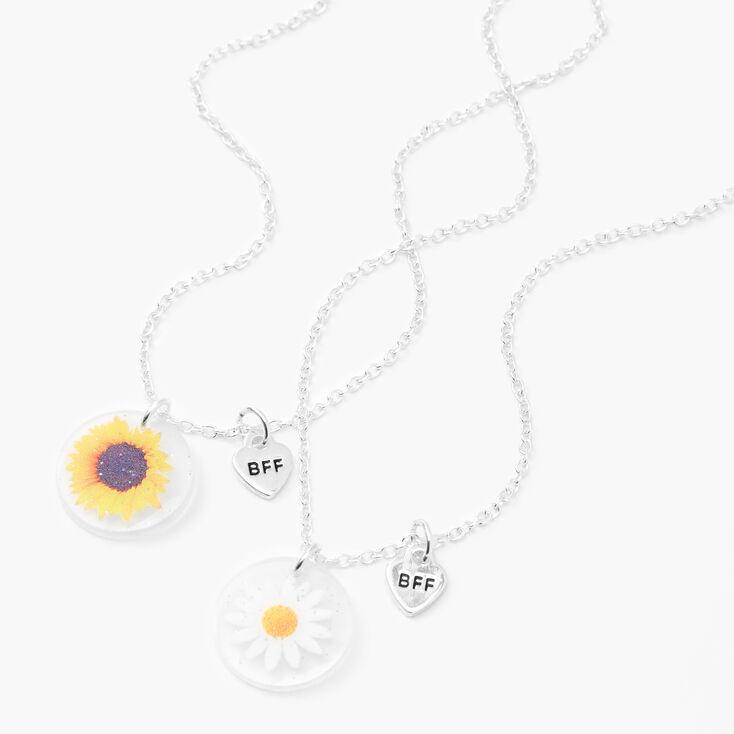 Best Friends Silver Flower Necklaces - 2 Pack,