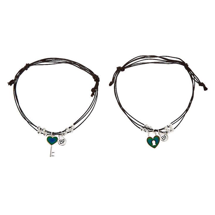 Mood Lock & Key Adjustable Friendship Bracelets - 2 Pack,