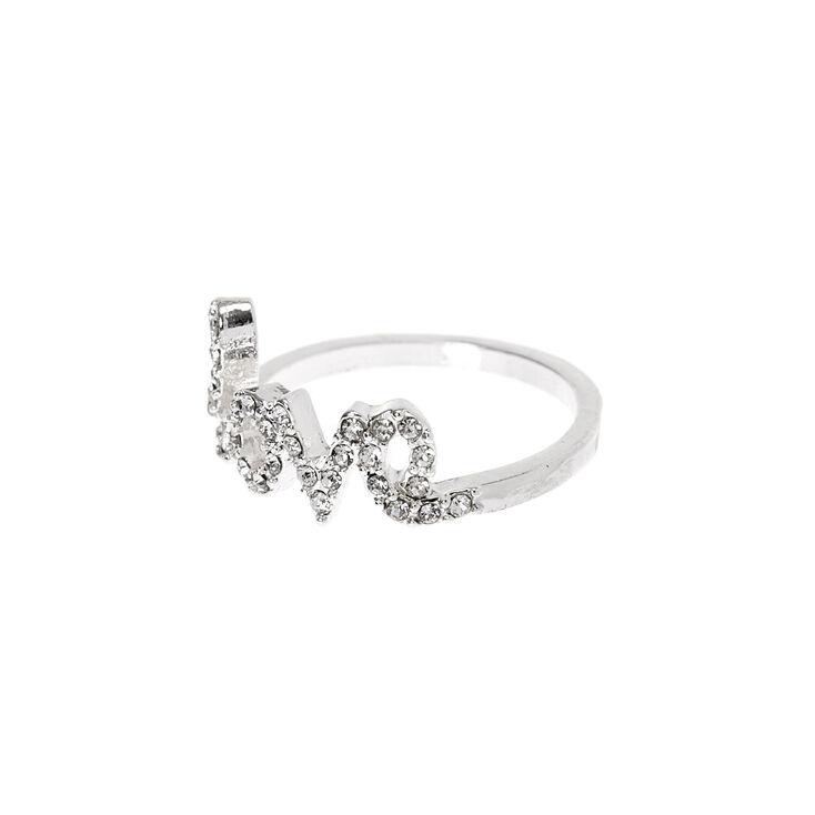 Silver Embellished Love Ring,