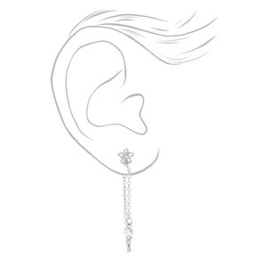 """Silver 1.5"""" Butterfly, Flower & Heart Front and Back Chain Drop Earrings - 3 Pack,"""
