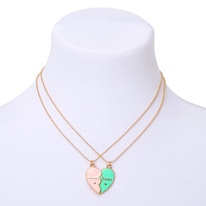 Sisters Pastel Heart Pendant Necklaces - 2 Pack,