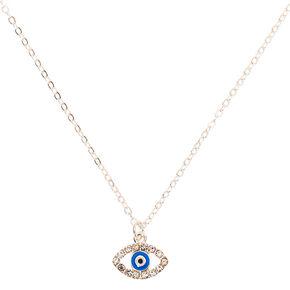Silver Evil Eye Pendant Necklace,