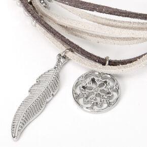 Feather Charm Wrap Bracelet - Grey,