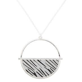 Silver Zebra Print Half Circle Pendant Necklace,