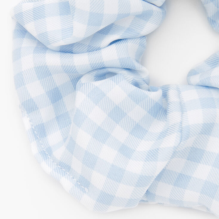 Medium Gingham Stripe Hair Scrunchie - Light Blue,