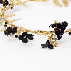 Gold Metallic Flower Crown Tie Headwrap - Black,