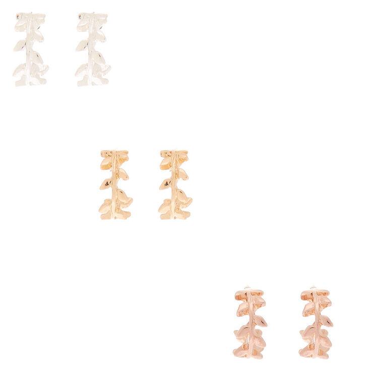 Mixed Metal 10MM Vine Hoop Earrings - 3 Pack,