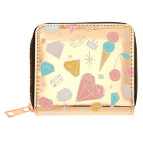 Diamond Doodle Print Mini Zip Wallet - Rose Gold,