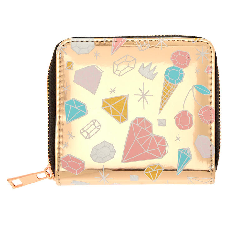 Diamond Doodle Print Mini Zip Wallet - Rose Gold,