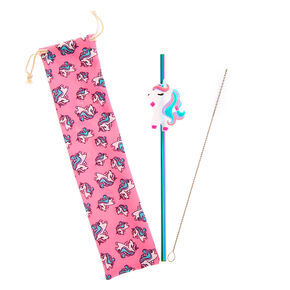 Miss Glitter the Unicorn Anodized Stainless Steel Straw & Pouch Set,