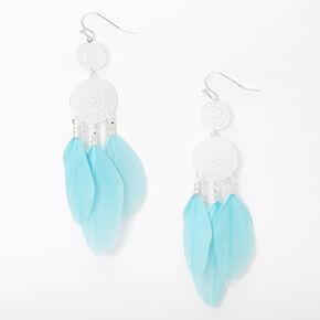 """Silver 3"""" Filigree Feather Drop Earrings - Mint,"""