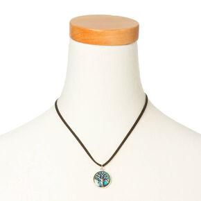 Tree Of Life Mood Pendant Cord Necklace - Black,