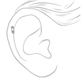 Boucle d'oreille pour piercing de cartilage épingle à nourrice avec strass 16g couleur argentée,