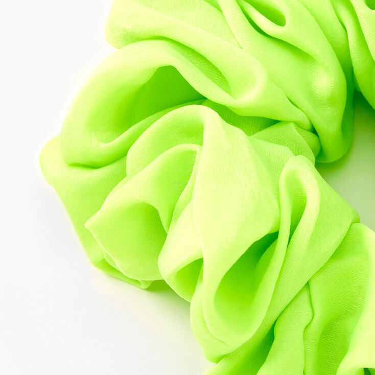 Giant Silky Hair Scrunchie - Neon Green,