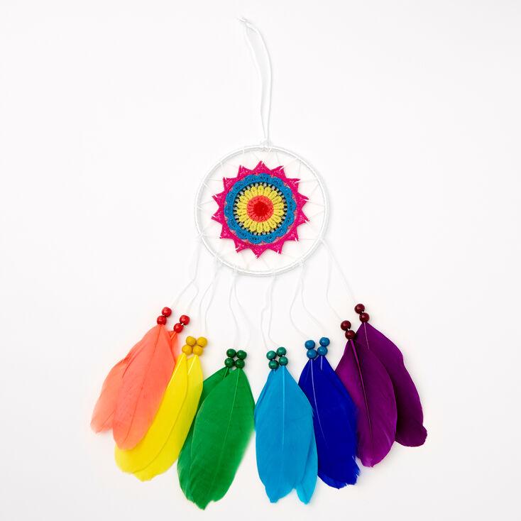 Rainbow Feather Dreamcatcher Wall Art - White,