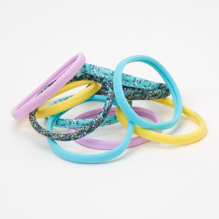 Floral Print & Pastels Rolled Hair Ties - 10 Pack,