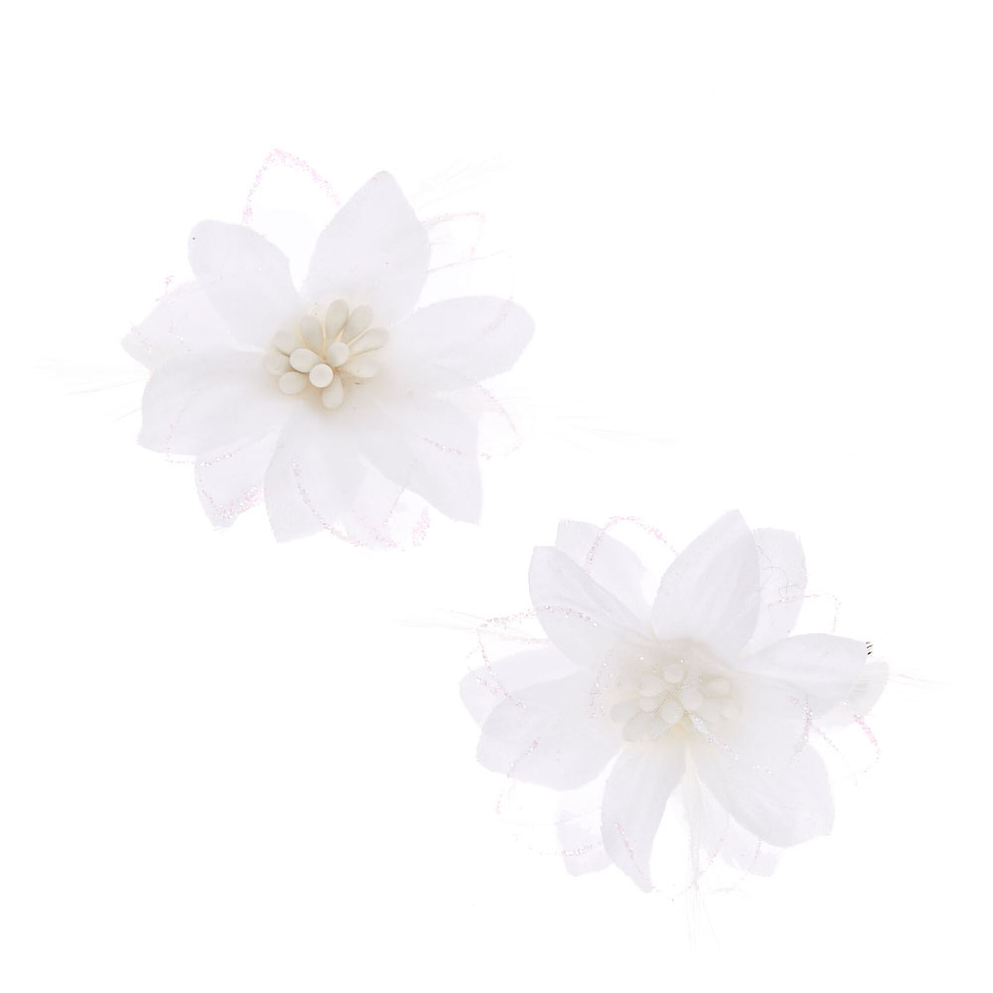 Glitter Lily Flower Hair Clips White 2 Pack Claires Us