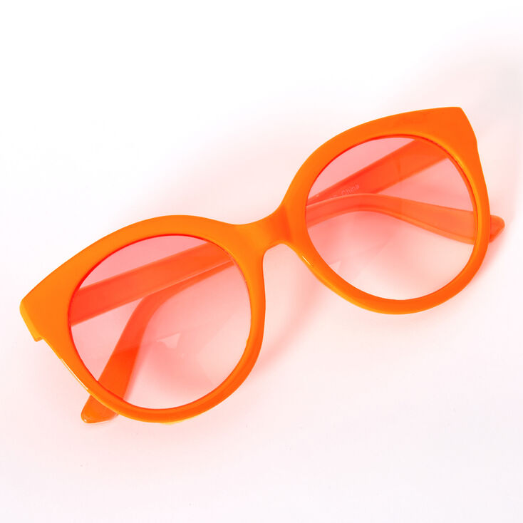 Topical Signature Print Rounded Mod Sunglasses - Orange,