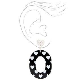 Black Oval Heart Print Drop Earrings,