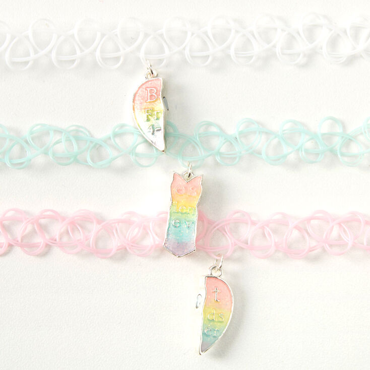 Best Friends Pastel Heart Glow In The Dark Tattoo Choker Necklaces - 3 Pack,