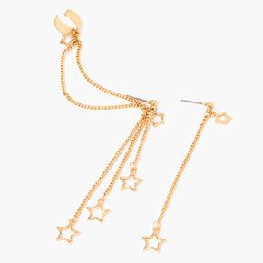 Pendantes et manchette d'oreille linéaires étoile 8cm couleur dorée,