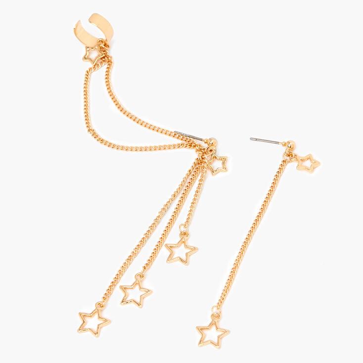 """Gold 3"""" Star Linear Ear Cuff Drop Earrings,"""