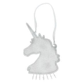 Glitter Hanging Unicorn Jewelry Holder - Silver,