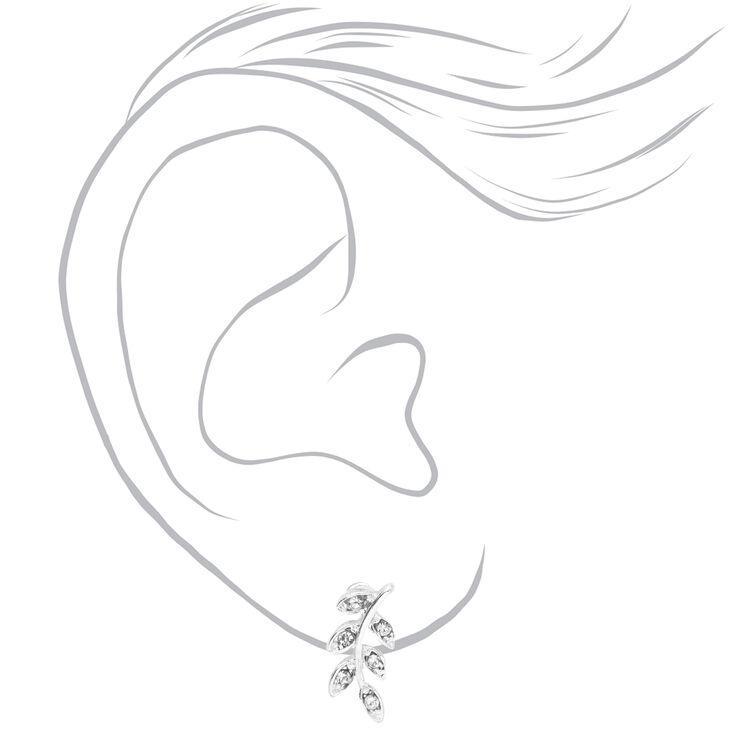 Silver Embellished Leaf Stud Earrings,