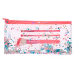 Confetti Makeup Brush Set - Pink, 3 Pack,