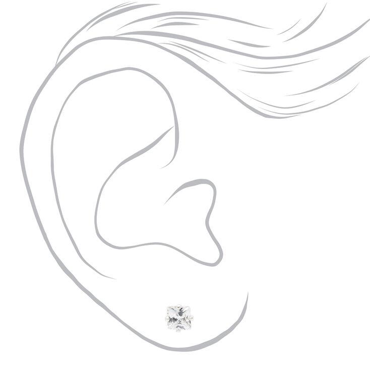 Clous d'oreilles aimantés carrés avec strass en zircon cubique d'imitation couleur argentée - 5mm,