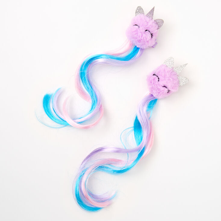 Claire's Club Unicorn Pom Faux Hair Clip In Extensions - 2 Pack,
