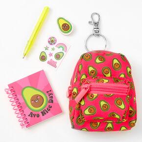 Smiling Avocado 4'' Backpack Stationery Set - Pink,