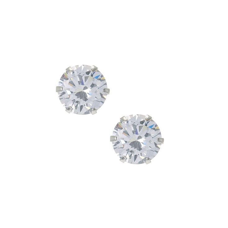 fd90347a7 8MM Sterling Silver Large Cubic Zirconia Stud Earrings | Claire's US