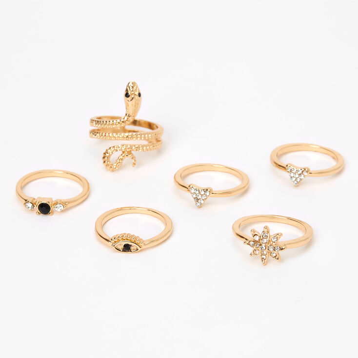 Gold Mystical Snake Rings - 6 Pack,