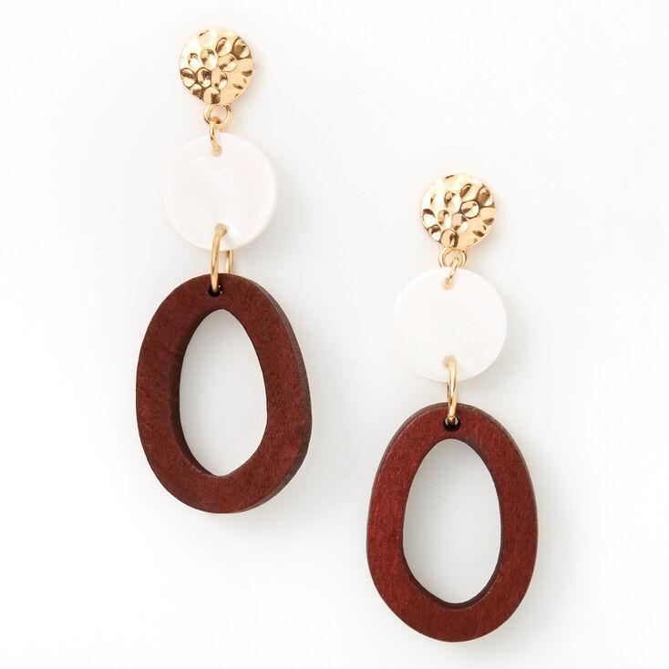Pendantes en bois d'imitation effet martelé 8cm couleur dorée - Marron,