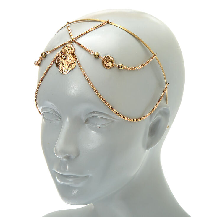 Gold Coin Back to Front Chain Headband,