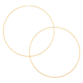 Gold 100MM Textured Hoop Earrings,
