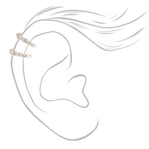 Silver Double Row Crystal Ear Cuff,
