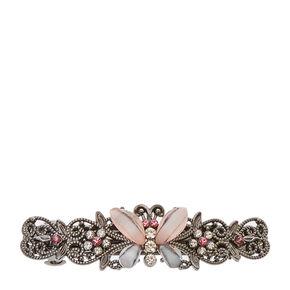 Hematite Butterfly Hair Barrette - Pink,