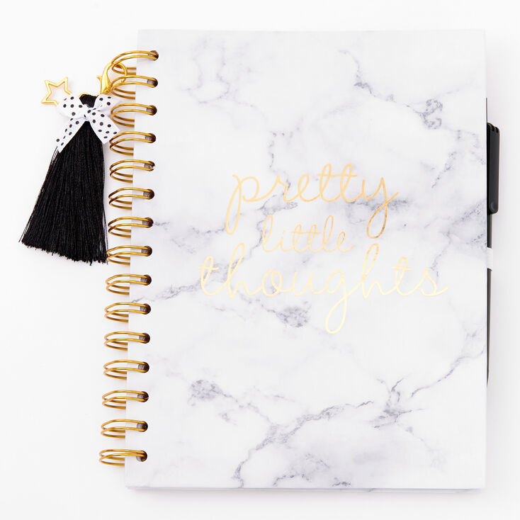 Pretty Little Thoughts Marble Notebook - White,
