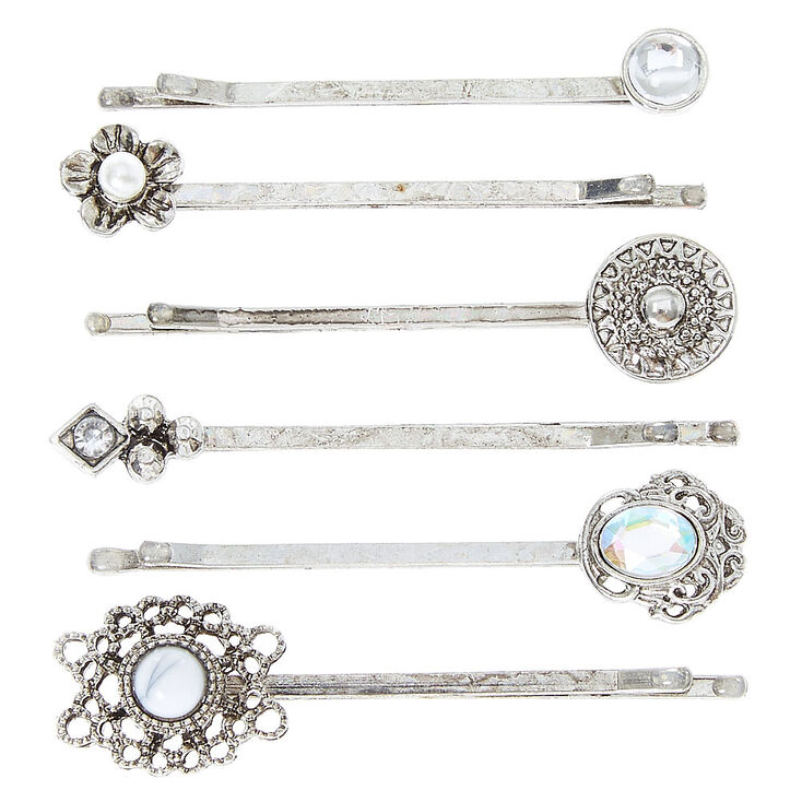 Silver Iridescent Stone Hair Pins - 6 Pack,