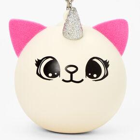 Pink & White Caticorn Stress Ball Keyring,