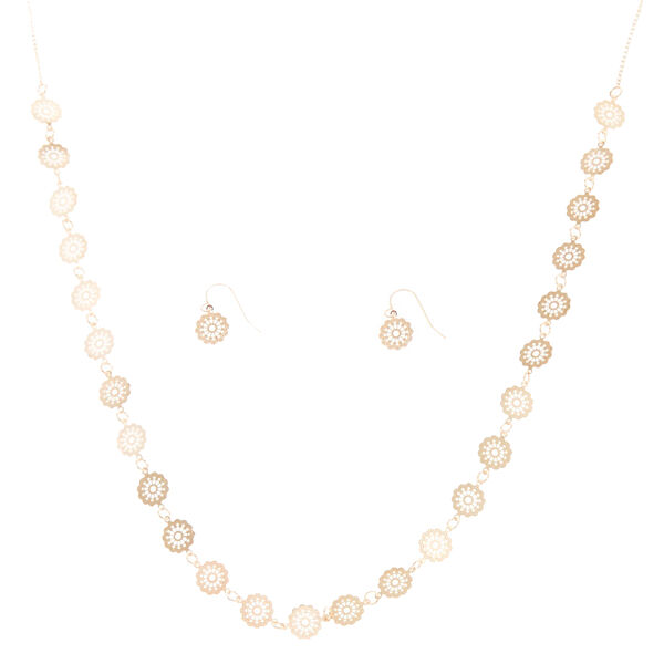Claire's - rose filigree disc jewelry set - 1