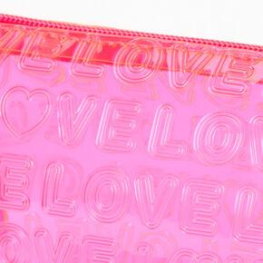 Neon Perforated Love Makeup Bag - Pink,