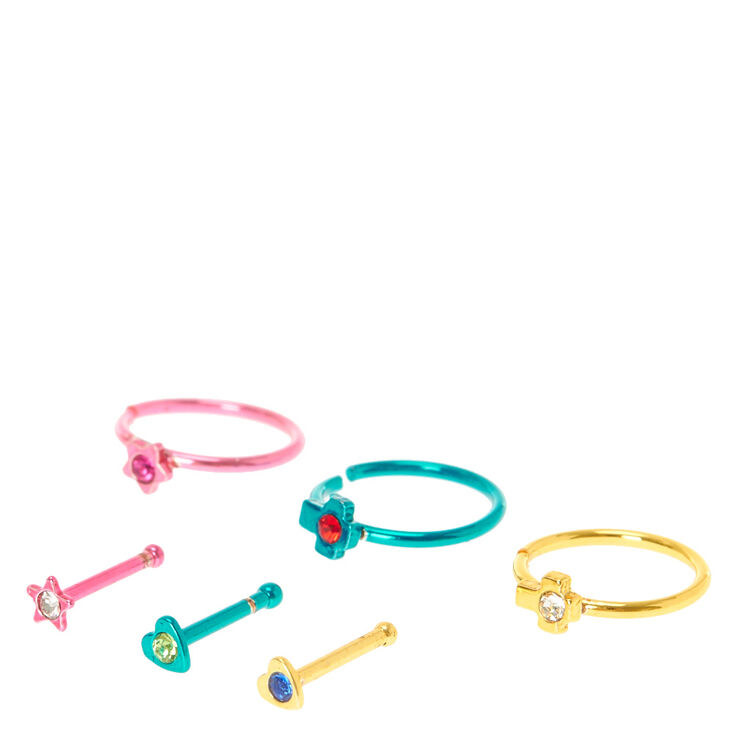 20g Pink Green Gold Colored Nose Ring Set Claire S Us