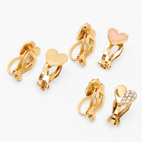 Clous d'oreilles à clip cœur variés couleur dorée - Rose, lot de 3,